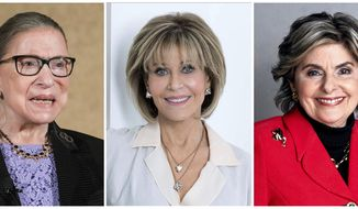 """This combination photo shows U.S. Supreme Court Justice Ruth Bader Ginsburg, from left, actress Jane Fonda and attorney Gloria Allred who are getting the documentary spotlight at the Sundance Film Festival. """"Seeing Allred"""" premieres on Netflix on Feb. 9. """"Jane Fonda in Five Acts"""" will play on HBO in 2018, and """"RBG"""" on CNN. (AP Photo)"""