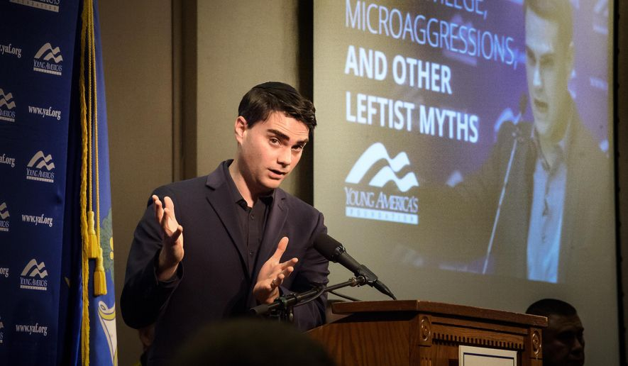 With 500 people attending, conservative political commentator Ben Shaprio delivers an address at the University of Connecticut. UConn's College Republicans on Wednesday, Jan. 24, 2018, welcomed Shapiro, editor-in-chief of conservative news and commentary site The Daily Wire. His appearance at the University of California, Berkeley sparked protests when he spoke there last fall. (Mark Mirko/Hartford Courant via AP) ** FILE **
