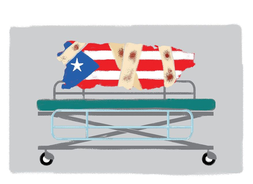 Illustration on the extreme condition of Puerto Rico by Alexander Hunter/The Washington Times
