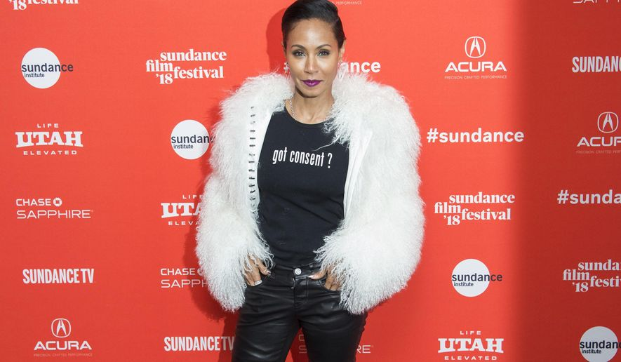 """Actress Jada Pinkett Smith poses during the premiere of """"Skate Kitchen"""" at the Library Theatre during the 2018 Sundance Film Festival on Sunday, Jan. 21, 2018, in Park City, Utah. (Photo by Arthur Mola/Invision/AP)"""
