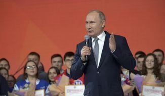 Russian President Vladimir Putin speaks as he meets with students in Kazan, Russia, Thursday, Jan. 25, 2018. (Alexei Nikolsky, Sputnik, Kremlin Pool Photo via AP) ** FILE **