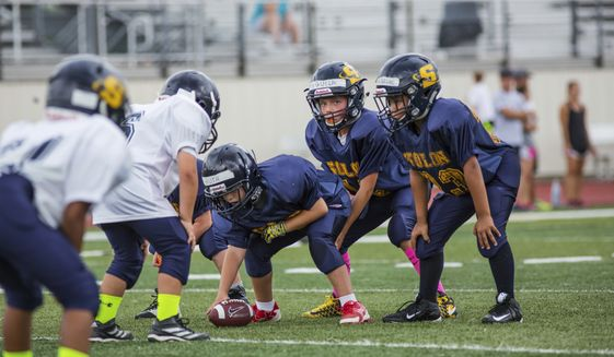 In this photo provided by USA Football, youth football teams in Solon, Ohio, play Rookie Tackle, a small-sided version of the sport piloted by USA Football in 2017, in alignment with the U.S. Olympic Committee's American Development Model for skill development and enjoyment of sport. Part of USA Football's mission is to make the game safer and more popular for youngsters. (Joe Smithberger/USA Football via AP)