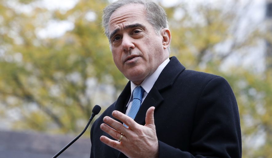 FILE - In this Nov. 9, 2017, file photo, Veterans Affairs Secretary David Shulkin speaks during the U.S. World War I Centennial Commission ceremonial groundbreaking for the National World War I Memorial at Pershing Park in Washington. Office of the Special Counsel, a federal whistle-blower agency, found that Manchester VA Medical Center failed to take seriously whistleblower complaints of substandard care, the findings were announced Thursday, Jan. 25, 2018. This follows The Boston Globe report that physicians and medical employees alleged the Manchester facility was endangering patients. In response to the Globe report, Shulkin immediately removed three top officials and ordered an investigation. (AP Photo/Jacquelyn Martin, File)