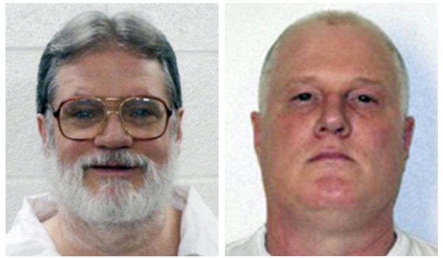 FILE - This combination of file photos provided by the Arkansas Department of Correction shows death-row inmates Bruce Earl Ward, left, and Don William Davis. Arkansas intended to kill Ward and Davis in a double-execution last April, but the men won stays after claiming independent psychiatrists should have reviewed their files and helped develop trial strategies. At the state Supreme Court on Thursday, Jan. 25, 2018, lawyers for the state said the pair never met the threshold that would have required the assistance. (Arkansas Department of Correction via AP, File)