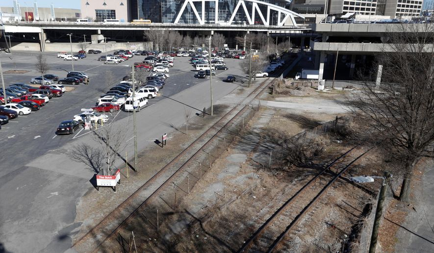 A tract of land known to locals as The Gulch is shown Thursday, Jan. 25, 2018, in Atlanta. As Atlanta vies to entice Amazon to build its second headquarters on the site, local leaders are studying a proposal to build a $5 billion project with more than three times the office space of New York's Empire State Building. (AP Photo/John Bazemore)