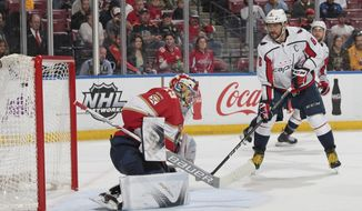 Washington Capitals left wing Alex Ovechkin (8) scores a goal past Florida Panthers goaltender Harri Sateri (29) during the second period of an NHL hockey game Thursday, Jan. 25, 2018, in Sunrise, Fla. (AP Photo/Joel Auerbach)