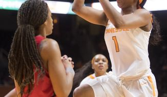 Tennessee guard Anastasia Hayes (1) shoots against Tennessee during an NCAA college basketball game Thursday, Jan. 25, 2018, in Knoxville, Tenn. (Brianna Paciorka/Knoxville News Sentinel via AP)