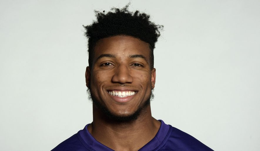 FILE - This is a 2017 photo of Marlon Humphrey of the Baltimore Ravens NFL football team. Humphrey has been arrested on a charge of stealing a phone charging cord from an Uber driver. Court records show the former Alabama player was arrested Thursday, Jan. 25, 2018, on a third-degree robbery charge in Tuscaloosa, Ala. The 21-year-old Humphrey is free on bond after being held briefly. (AP Photo/File)