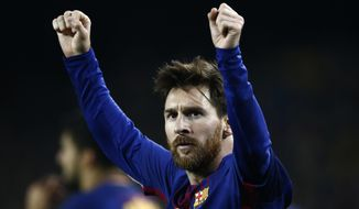 FC Barcelona's Lionel Messi celebrates after scoring during the Spanish Copa del Rey, quarter final, second leg, soccer match between FC Barcelona and Espanyol at the Camp Nou stadium in Barcelona, Spain, Thursday, Jan. 25, 2018. (AP Photo/Manu Fernandez)