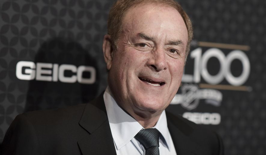 FILE- In this Jan. 27, 2017, file photo, Al Michaels arrives at the The NHL100 Gala held at the Microsoft Theater in Los Angeles. Michaels is set to join Pat Summerall as the only play-by-play announcers to call at least 10 Super Bowls when he works next weekend's game in Minneapolis between New England and Philadelphia. (Photo by Richard Shotwell/Invision/AP, File)