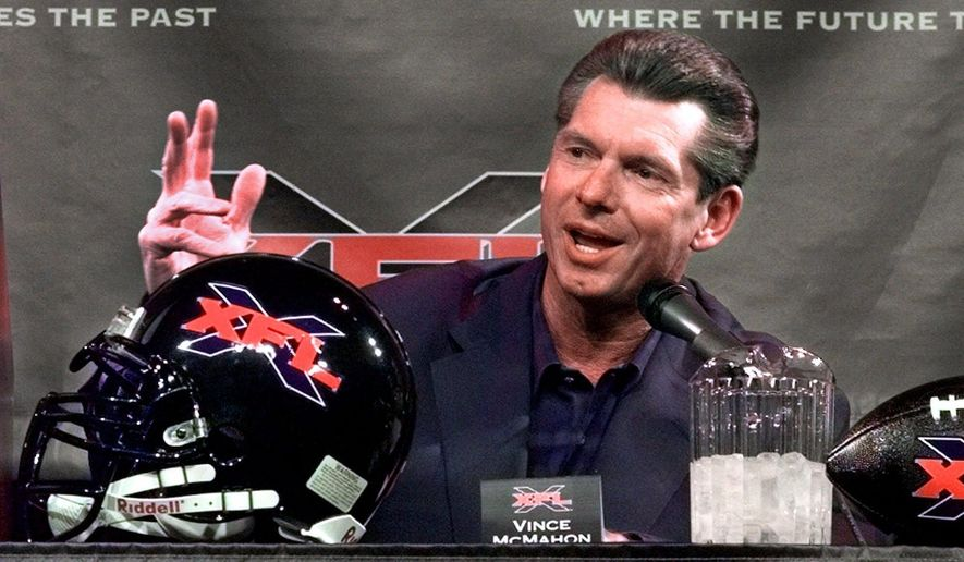 FILE - In this Feb. 3, 2000, Vince McMahon, chairman of the World Wrestling Federation, speaks during a news conference in New York. The XFL is set for a surprising second life, McMahon announced Thursday, Jan. 25, 2018. McMahon said the XFL would return in 2020 but offered few other details about the late winter/early spring football league. (AP Photo/Ed Bailey, File) **FILE**