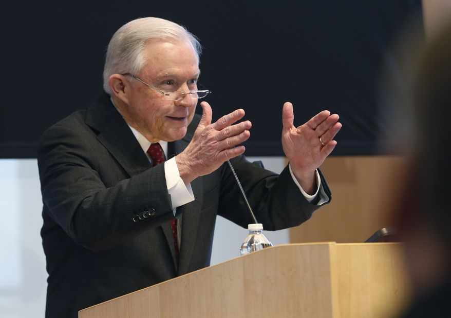U.S. Attorney General Jeff Sessions gestures during a speech on Security and Immigration priorities before a group of law enforcement officials in Norfolk, Va., Friday, Jan. 26, 2018. (AP Photo/Steve Helber)