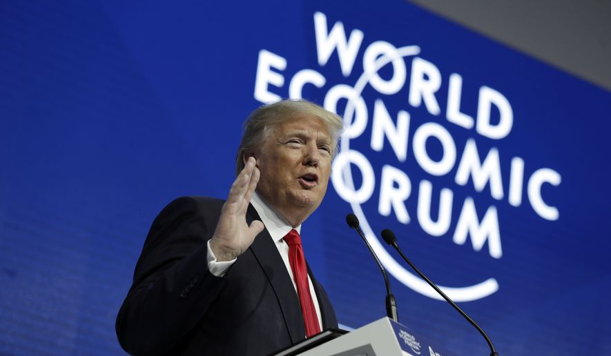 President Donald Trump delivers a speech to the World Economic Forum, Friday, Jan. 26, 2018, in Davos. (AP Photo/Evan Vucci) ** FILE **