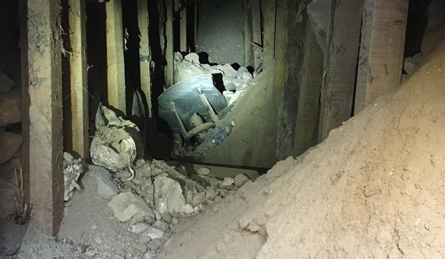 This Thursday, Jan . 25, 2018, photo, provided by the U.S. Border Patrol shows a makeshift tunnel discovered during construction of a roadway near downtown El Paso, Texas, just north of the border with Mexico. Authorities are working to determine the origin and purpose of the tunnel. (U.S. Border Patrol via AP)
