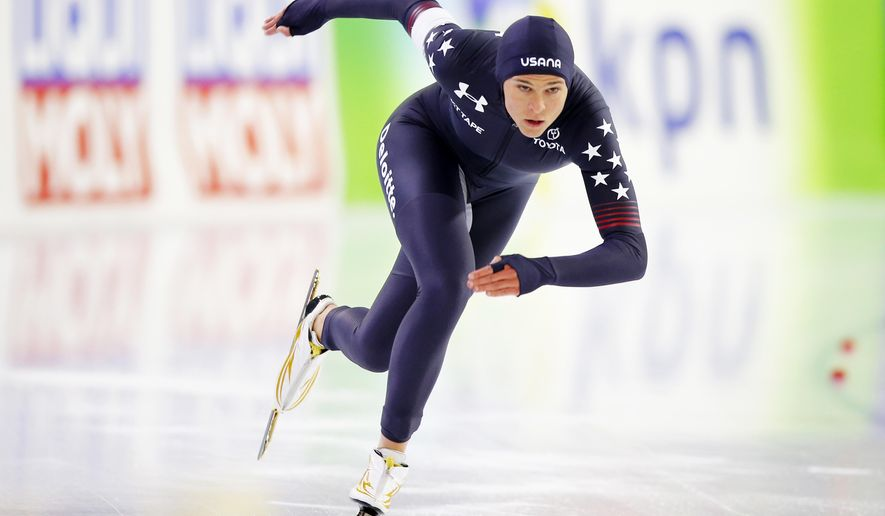 FILE - In this Nov. 11, 2017, file photo Brittany Bowe, of the United States, competes in the women's 500-meter race of the Speedskating World Cup at the Thialf ice rink in Heerenveen, Netherlands. A training clash on the ice turned Bowe's career upside down at the height of powers. A concussion and complicated recovery turned into a personal nightmare from which she is emerging only just in time for the Olympics. (AP Photo/Peter Dejong, File)