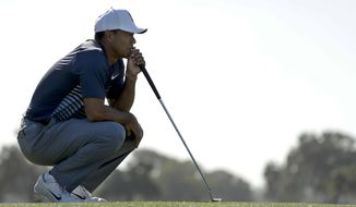 Tiger Woods lines up his putt on the 16th hole hole of the North Course at Torrey Pines Golf Course during the second round of the Farmers Insurance Open golf tournament Friday, Jan. 26, 2018 in San Diego. (AP Photo/Gregory Bull)