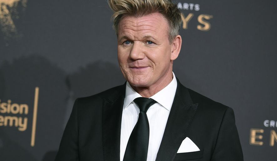 In this Sept. 9, 2017, file photo, celebrity chef Gordon Ramsay arrives at night one of the Creative Arts Emmy Awards at the Microsoft Theater in Los Angeles. (Photo by Richard Shotwell/Invision/AP, File)