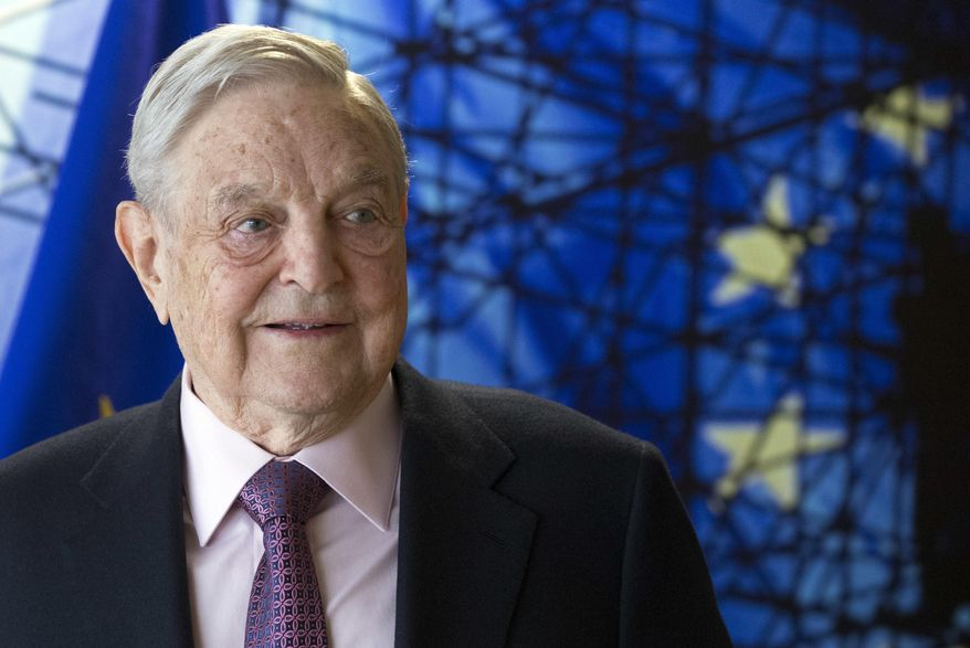 This Thursday, April 27, 2017, file photo shows George Soros, founder and chairman of the Open Society Foundation, before the start of a meeting at EU headquarters in Brussels. (Olivier Hoslet, Pool Photo, File, via AP) ** FILE **