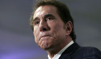 This March 15, 2016, file photo, shows casino mogul Steve Wynn at a news conference in Medford, Mass. Wynn Resorts is denying multiple allegations of sexual harassment and assault by its founder Steve Wynn, describing it as a smear campaign related to divorce proceedings from his ex-wife. The Wall Street Journal reported Friday, Jan. 26, 2018, that a number of women say they were harassed or assaulted by the casino mogul. Wynn denied the allegations personally in a printed statement. (AP Photo/Charles Krupa, File) **FILE**