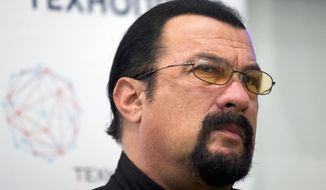 In this Sept. 22, 2015, file photo, actor Steven Seagal speaks at a news conference, while attending an opening ceremony for a research and development center in Moscow, Russia. (AP Photo/Ivan Sekretarev, File)