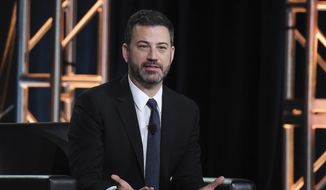 "In this Jan. 8, 2018, file photo, Jimmy Kimmel participates in the ""Jimmy Kimmel Live and 90th Oscars"" panel during the Disney/ABC Television Critics Association Winter Press Tour in Pasadena, Calif. (Photo by Richard Shotwell/Invision/AP, File)"