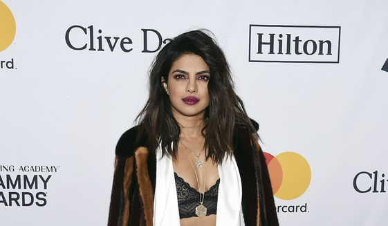 Priyanka Chopra arrives at the 2018 Pre-Grammy Gala And Salute To Industry Icons at the Sheraton New York Times Square Hotel on Saturday, Jan. 27, 2018, in New York. (Photo by Evan Agostini/Invision/AP)