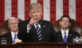 In this Feb. 28, 2017, file photo, President Donald Trump addresses a joint session of Congress on Capitol Hill in Washington. as Vice President Mike Pence and House Speaker Paul Ryan of Wis. listen. Trump will deliver his first State of the Union address on Tuesday, Jan. 30, 2018. (Jim Lo Scalzo/Pool Image via AP, File)