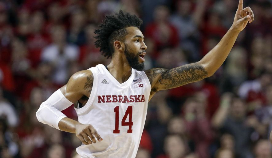 Nebraska's Isaac Copeland reacts after scoring three points during the first half of an NCAA college basketball game against Iowa in Lincoln, Neb., Saturday, Jan. 27, 2018. (AP Photo/Nati Harnik)