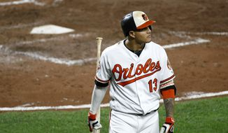 In this Sept. 19, 2017 file photo, Baltimore Orioles' Manny Machado walks off the field after flying out in the eighth inning of a baseball game against the Boston Red Sox in Baltimore. (AP Photo/Patrick Semansky, File) **FILE**
