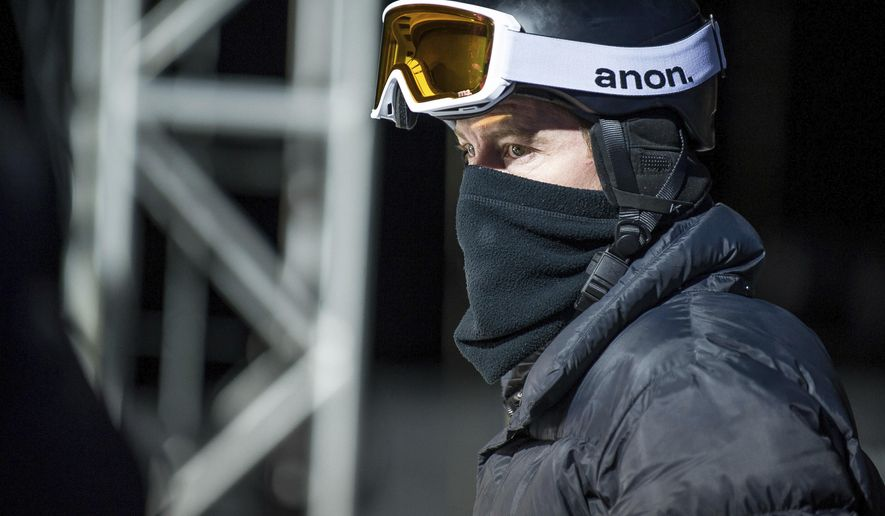 U.S. halfpipe snowboarder Shaun White waits to take a practice run at the Winter X Games on Wednesday, Jan. 24, 2018, in Aspen, Colo. (Anna Stonehouse/The Aspen Times via AP)
