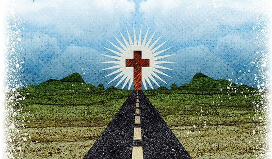 Illustration on the divine path by Greg Groesch/The Washington Times