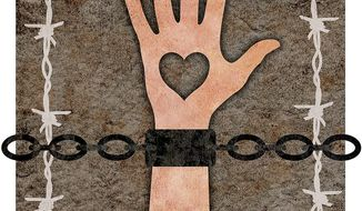 Oppressing the Hand of Charity Illustration by Greg Groesch/The Washington Times