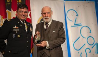Col. Andrew O. Hall with Google's Vinton G. Cerf, co-designer of the TCP/IP protocols and the architecture of the Internet, a keynote speaker at CyCon U.S. in November 2017. U.S. Army photo by Clare Blackmon.