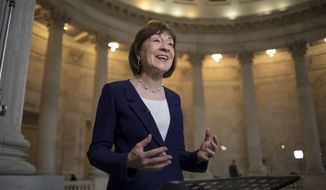 In this Jan. 23, 2018, file photo, Sen. Susan Collins, R-Maine, speaks during a TV news interview on Capitol Hill in Washington. (AP Photo/J. Scott Applewhite, File)