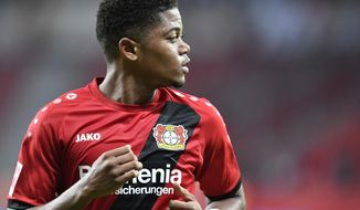 Leverkusen's Leon Bailey waits for the ball during the German Bundesliga soccer match between Bayer Leverkusen and FSV Mainz in Leverkusen, Germany, Sunday, Jan. 28, 2018. (AP Photo/Martin Meissner)