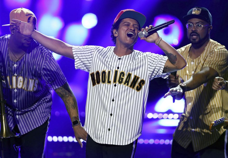 Bruno Mars performs at the BET Awards at the Microsoft Theater in Los Angeles. Four of the five album of the year nominees at the 2018 Grammys are rap and R&B-based albums from black or Latino artists, including Mars. (Photo by Matt Sayles/Invision/AP, File)
