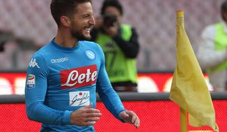 Napoli's Dries Mertens celebrates after scoring during the Serie A soccer match between Napoli and Bologna at the San Paolo Stadium in Naples, Italy, Sunday, Jan.28, 2018. (Cesare Abbate/ANSA via AP)