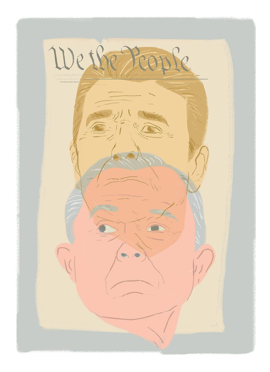 Illustration on Jeff Sessions and revival at the Justice Department by Linas Garsys/The Washington Times