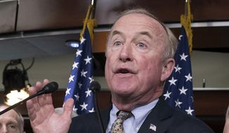 In this Sept. 14, 2017, file photo, Rep. Rodney Frelinghuysen, R-N.J., chairman of the House Appropriations Committee, center, speaks at the Capitol in Washington. (AP Photo/J. Scott Applewhite) ** FILE **