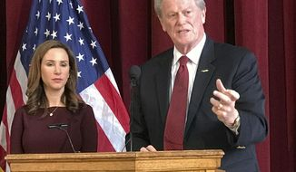 Florida State University President John Thrasher and Vice President for Student Affairs Amy Hecht discuss the partial lifting of the fraternity and sorority suspension on Monday, Jan. 29, 2018 at Florida State University in Tallahassee, Fla. Thrasher said on Monday that organizations are immediately allowed to hold philanthropy events and recruit members. (AP Photo/Joe Reedy)