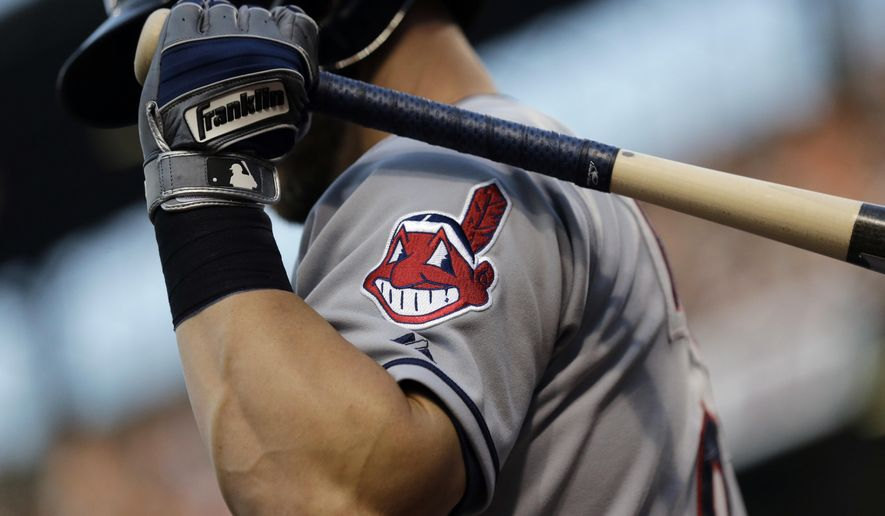 The Cleveland Indians' logo appears on a jersey during a baseball game against the Baltimore Orioles in Baltimore, June 26, 2015. (AP Photo/Patrick Semansky) ** FILE **