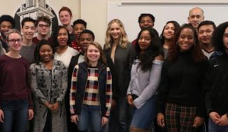 Jennifer Lawrence, one of Hollywood's highest-paid actresses and a vocal critic of President Trump, made a surprise appearance at an Ohio high school to teach a government class about fixing corruption in America's electoral process. (Twitter/@CHUHSchools)
