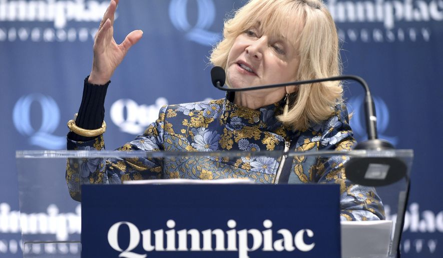 Judy D. Olian, dean of the UCLA Anderson School of Management, speaks after being appointed as the ninth president of Quinnipiac University in Hamden, Conn., Monday, Jan. 29, 2018. (Arnold Gold/New Haven Register via AP)