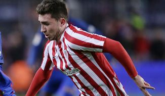 FILE - In this file photo dated Wednesday, Jan. 11, 2017, Athletic Bilbao's Aymeric Laporte in action during Copa del Rey, 16 round, against FC Barcelona at the Camp Nou in Barcelona, Spain. 23-year-old Athletic Bilbao says defender Frenchman Aymeric Laporte is reported Monday Jan. 29, 2018, to have paid his buyout clause, looks set to leave the club, opening the way for a transfer to Manchester City. (AP Photo/Manu Fernandez, FILE)