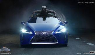 """This photo provided by Lexus shows an image of the Lexus """"Black Panther"""" Super Bowl spot. For the 2018 Super Bowl, marketers are paying more than $5 million per 30-second spot to capture the attention of more than 110 million viewers. (Courtesy of Lexus via AP)"""