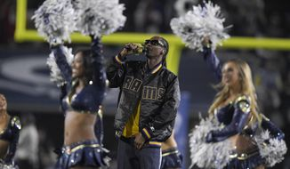 FILE - In this Jan. 6, 2018, file photo, Snoop Dogg performs with the Los Angeles Rams cheerleaders during halftime of an NFL football wild-card playoff game against the Atlanta Falcons in Los Angeles. The rapper, who is working on a gospel album, will headline BET's annual pre-Super Bowl gospel concert and the Playboy party in a busy week also featuring performances by Jennifer Lopez, Pink, Cardi B and the Chainsmokers. (AP Photo/Mark J. Terrill, File)