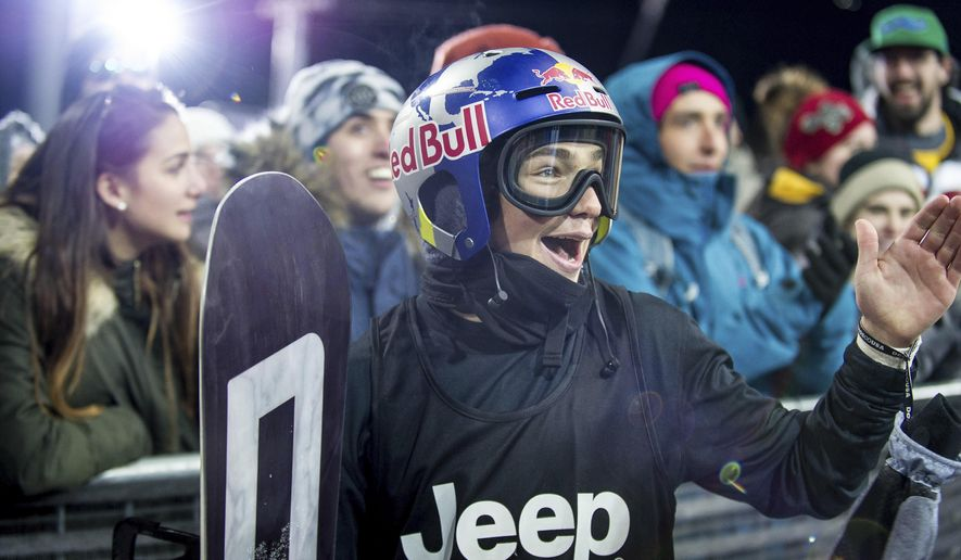 Toby Miller's reacti after Japanese rider Ayumu Hirano landed his run in the men's snowboard superpipe finals at the Winter X Games on Sunday, Jan. 28, 2018, in Aspen, Colo. (Anna Stonehouse/The Aspen Times via AP)