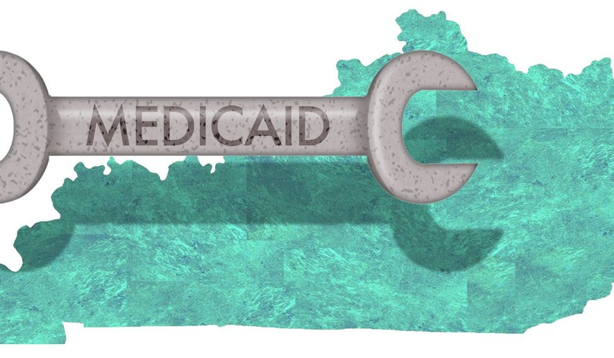 Illustration on Kentucky's Medicaid work requirements by Alexander Hunter/The Washington Times