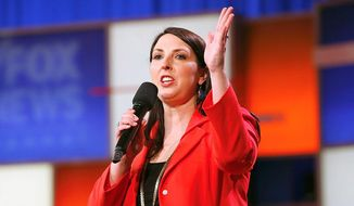 Ronna Romney McDaniel, chairwoman of the Republican National Committee, speaks at a campaign rally. (Associated Press) ** FILE **
