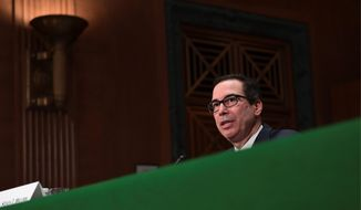 """Treasury Secretary Steven Mnuchin said there are aspects of a national online sales tax that the president """"likes a lot."""" (Associated Press)"""